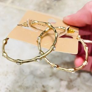 SOLD ✨NEW✨Crystal Gold Hoops!
